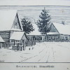 Нарисованная зимняя открытка с домами по Bismarckstrasse