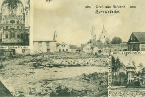 Фотоколлаж с церквями Барановичского района на немецкой фотооткрытке