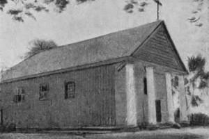 Костел в Крошине на фото начала ХХ века