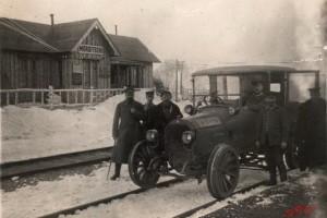 Станция Мордичи. Автомобиль на ж/д колесной паре. Первая Мировая