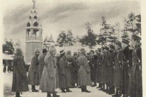 Император награждает отличившихся казаков. Ставка, 25. 01. 1915 г.