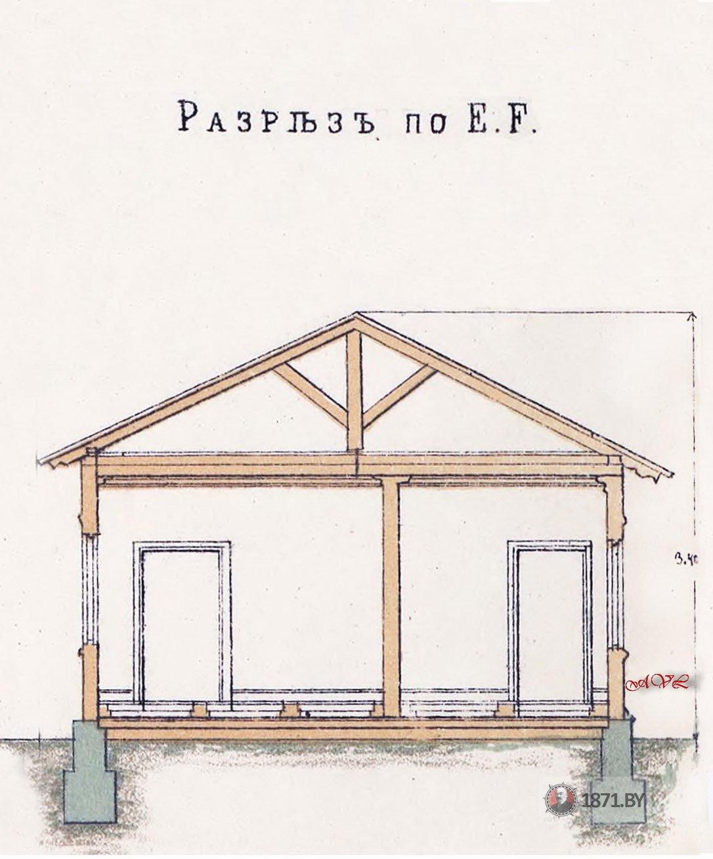 Пассажирское здание III-класса. Разрез по E.F L